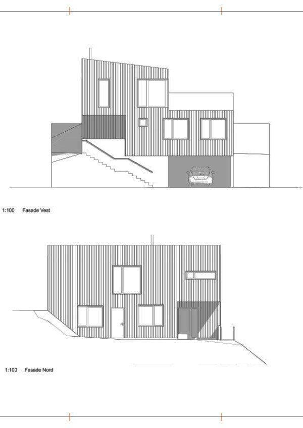 Fasade nord og vest hustype A
