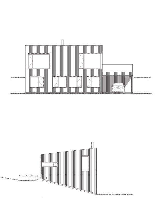 Fasade Nord og Vest hustype E