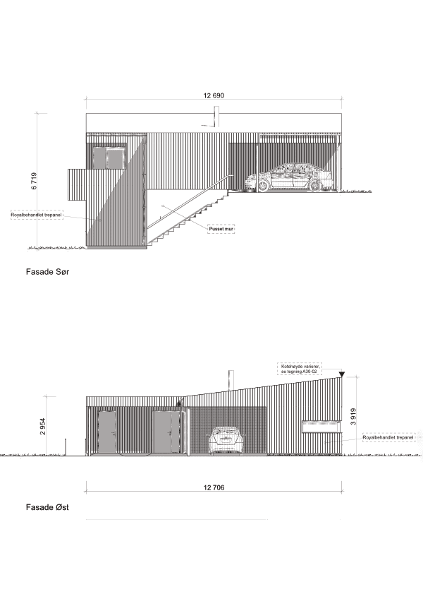 Fasade sør og øst hustype D