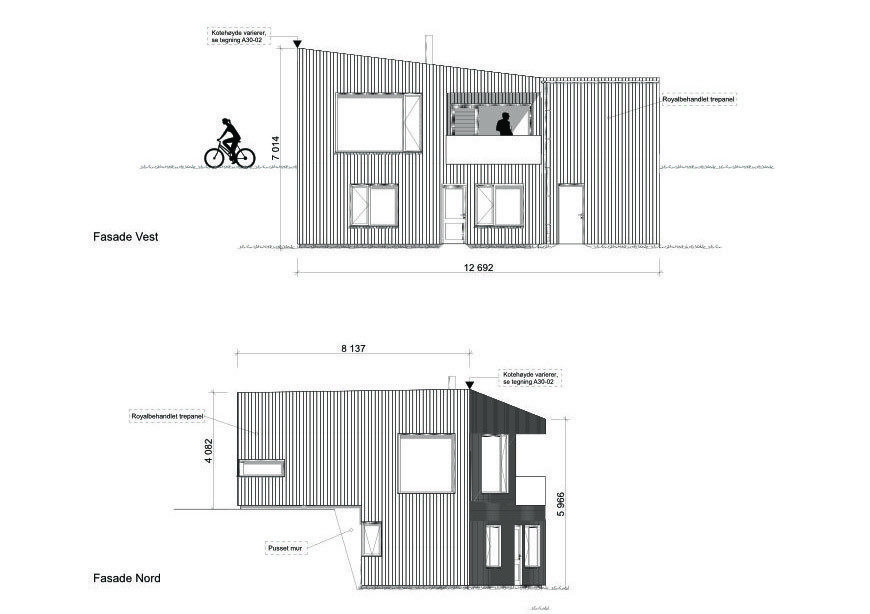 Fasade nord og vest hustype C